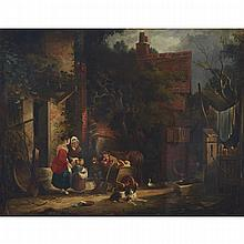 William Shayer The Elder (1787-1879), THE BERRY SELLER OFFERING A BUNCH OF CHERRIES, Oil on canvas; signed lower left, 28