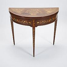Dutch Walnut Marquetry Inlaid Demi Lune Games Table, early 19th century