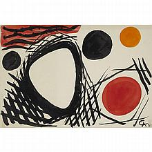 "Alexander Calder (1898-1976), ORANGE RED AND BLACK DISCS, 1961, Gouache and ink on BFK Rives watermarked paper; signed with artist's monogram ""AC"" initials and dated 61 in black ink lower right, titled ""Orange red + black Discs"" and"