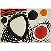 """Alexander Calder (1898-1976), ORANGE RED AND BLACK DISCS, 1961, Gouache and ink on BFK Rives watermarked paper; signed with artist's monogram """"AC"""" initials and dated 61 in black ink lower right, titled """"Orange red + black Discs"""" and, Alexander Calder, CAD20,000"""