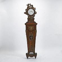 LOUIS XVI STYLE ORMOLU-MOUNTED MAHOGANY, AMARANTH AND TULIPWOOD REGULATEUR DE PARQUET, AFTER THE MODEL BY JEAN-HENRI RIESENER, CIRCA 1890, height 88.6