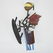 Charles Arnoldi (1946-), VENICE #2, 1988, Cast and assembled bronze with dry pigments and patina; signed, titled, dated 88 and inscribed with hanging instructions