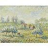 """Hughes Claude Pissarro (1935-), PRINTEMPS À PRUNET PAR MORTHOMIERS, Oil on canvas; signed lower left, signed """"H. Claude Pissarro / le Petit-Fils"""" and titled verso, 10.75"""