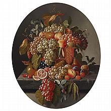 Attributed to Severin Roesen (1815-1872), GRAPES, ORANGES, PEARS AND PLUMS, APPLES AND BERRIES IN A BASKET ON A MARBLEIZED LEDGE, Oil on canvas; cut down to a sculpted oval. Unsigned., 29.5