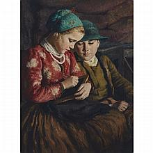 "Oszkar Glatz (1872-1958), SISTER TEACHING BROTHER, 1930, Oil on canvas; signed and dated 1930 lower right, inscribed: ""Legrady Testverek Lulajdona. Budapest"" in black ink verso, 31.75"