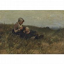 "Bernardus Johannes Blommers (1845-1914), MOTHER AND BABY RESTING IN A FIELD, Oil on canvas; signed ""Blommers"" lower right, 17"