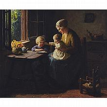 Bernard Pothast (1882-1966), INTERIOR WITH MOTHER AND CHILDREN BY A WINDOW, Oil on canvas; signed lower right, 20