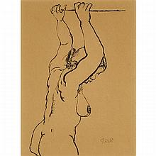 "George Grosz (1893-1959), NUDE, 1915, Ink drawing on brown paper; signed in pencil lower right, stamped with artist's estate stamp ""George Gross Nachlass"" numbered 2/36/4 in ink, inscribed ""L3 Nr. 512"" and dated 1915 in pencil verso, Sheet"