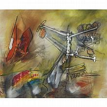 CIRCLE OF ROBERTO MATTA (1911 - 2002), UNTITLED (SURREALIST COMPOSITION), CIRCA 1960, Oil on canvas. Unsigned. Given to