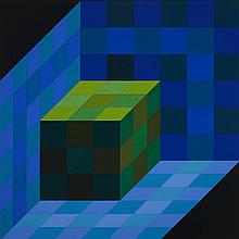 Victor Vasarely (1906-1997), TRIDIM-C, 1968, Acrylic on canvas; signed