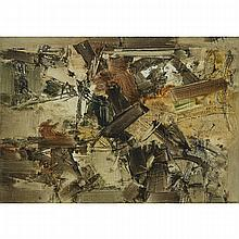 "Yannis (Jannis) Spyropoulos (1912-1990), THEMES & VARIATIONS NO. 27, 1960, Oil on canvas; signed in Greek lower right, signed in Greek and in Roman verso, signed and titled in Roman, numbered ""No. 27"" and dated 1960 at Athens to the stretcher,"