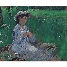Francois Gall (1912-1987), YOUNG WOMAN KNITTING IN A MEADOW, Oil on masonite; signed lower left, 8.5