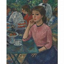 Francois Gall (1912-1987), RENDEZVOUS AT THE CAFE, Oil on canvas; signed lower left, 16