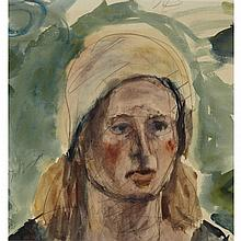 Jorgos Busianis (Georgios Bouzianis) (1885-1959), PORTRAIT OF A WOMAN WEARING A SCARF (THE ARTIST'S WIFE, MS. MARIA IMHOLZ), Watercolour and pencil on paper; signed in pencil mid-left, inscribed verso, 13.25