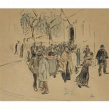 Theophile Alexandre Steinlen (1859-1923), STREET SCENE; WOMAN ABOUT TO OPEN A DOOR (2 WORKS), Two drawings: the former, a pen and ink drawing heightened with colour crayon and watercolour wash on paper; signed with initials ST lower right, the