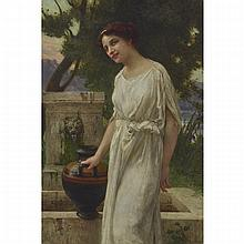 "Guillaume Seignac (1870-1924), NEOCLASSIC BEAUTY AT THE WELL, Oil on canvas; signed ""G. Seignac"" lower right, 29"