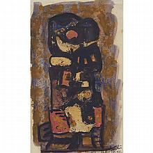 Camille Souter (1929-), UNTITLED ABSTRACT, 1956, Mixed-media oil and ink on thin paper mounted at the edges to a card support; signed and dated 56 at Dublin lower right, Sheet, Irregularly shaped 10