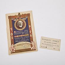 Menu and Ticket for a Banquet and Demonstration in Honour of Rt. Hon. Sir Wilfrid Laurier at Massey Hall, Toronto, 1906, 8.6