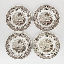 Four Davenport 'Montreal' Plates, c.1835, diameter 10.5