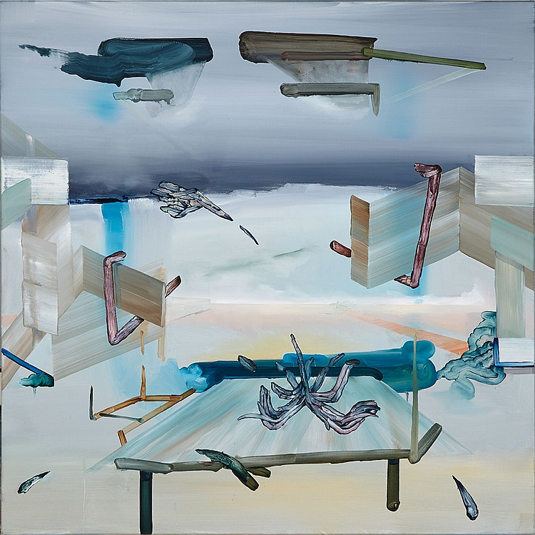 SCOTT EVERINGHAM, WET METEOR FALLOUT, oil on canvas, 36 ins x 36 ins; 91.4 cms x 91.4 cms