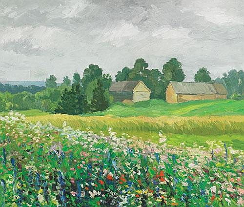 Ansis Artums (1908-1997), Latvian FIELD OF FLOWERS