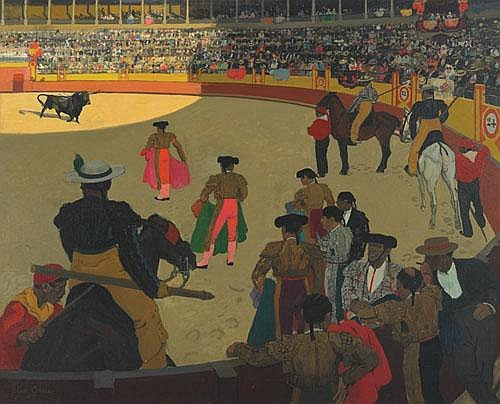 Leon Carré (1878-1942), French BULL FIGHT; Oil on