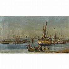 """Charles William Wyllie (1853/59-1923), A LOADED STRAW BARGE WITH BOYS TENDING ROW BOATS, A CITY IN THE DISTANCE, 1882, Oil on canvas; signed and dated 82 lower left, signed at Matilda Hill and inscribed No. 3 verso, 10"""" x 18"""" — 25.4 x 45.7 cm."""