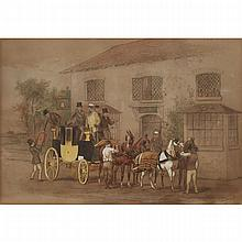 """William Henry Wheelwright (1857-1897), LOADING THE COACH, 1870, Watercolour heightened with white on paper; signed and dated 1870 lower right, Sheet sight 8.75"""" x 12.5"""" — 22.2 x 31.8 cm."""