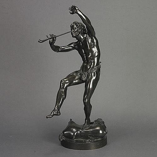 Eugène Le Quèsne (1815-1887) DANCING FAUN, bronze,