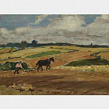 JAMES WILSON MORRICE, R.C.A., PLOUGHING, BRITTANY, oil on panel, 9.25 ins x 13 ins; 23.5 cms x 33 cms
