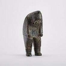 ISA OOMAYOUALOOK (1915-1976), HUNTER OVER BLOW HOLE, stone, 10 x 4 x 7 in — 25.4 x 10.2 x 17.8 cm