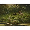 Constant Artz (1870-1951), DUCKS AND DUCKLINGS AT A POND, Oil on plywood panel; signed lower right, 12