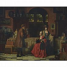 """Jean Carolus (1814-1897), THE ANTIQUARIAN, Oil on canvas; signed lower left, 30"""" x 37"""" — 76.2 x 94 cm."""