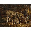 Charles Emile Jacque (1813-1894), SHEEP IN A STALL, Oil on panel; signed lower left, 7.25