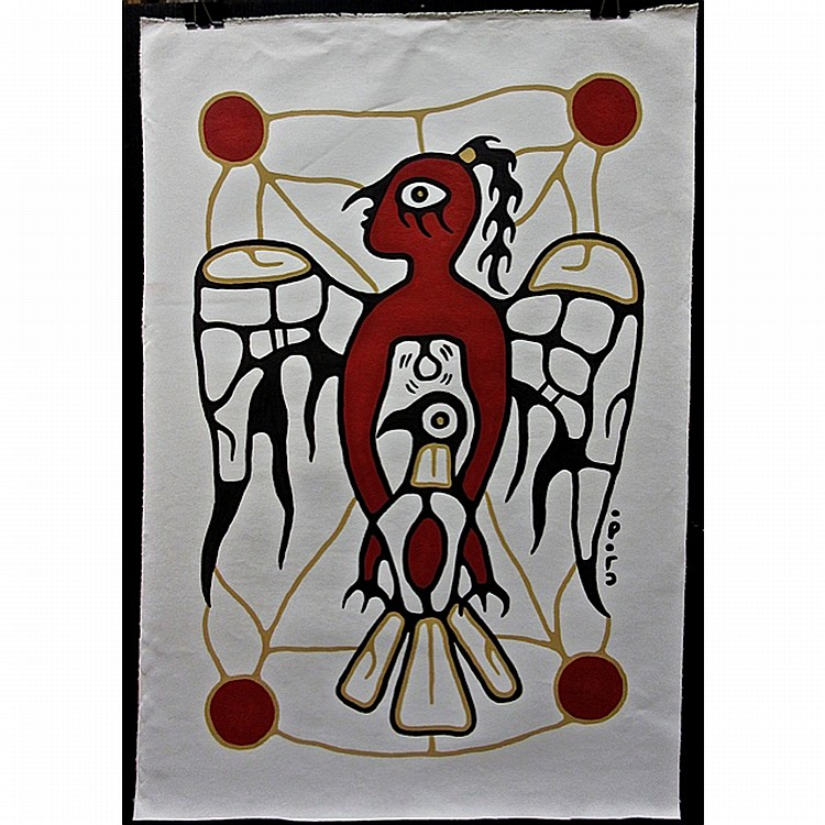 CHRISTIAN MORRISSEAU (NATIVE CANADIAN, 1969-), POTAN & NORVAL SPIRITUAL TEACHING, ACRYLIC ON CANVAS; SIGNED IN SYLLABICS LOWER RIGHT; SIGNED, TITLED AND DATED 2006 VERSO - UNFRAMED AND UNSTRETCHED, 42