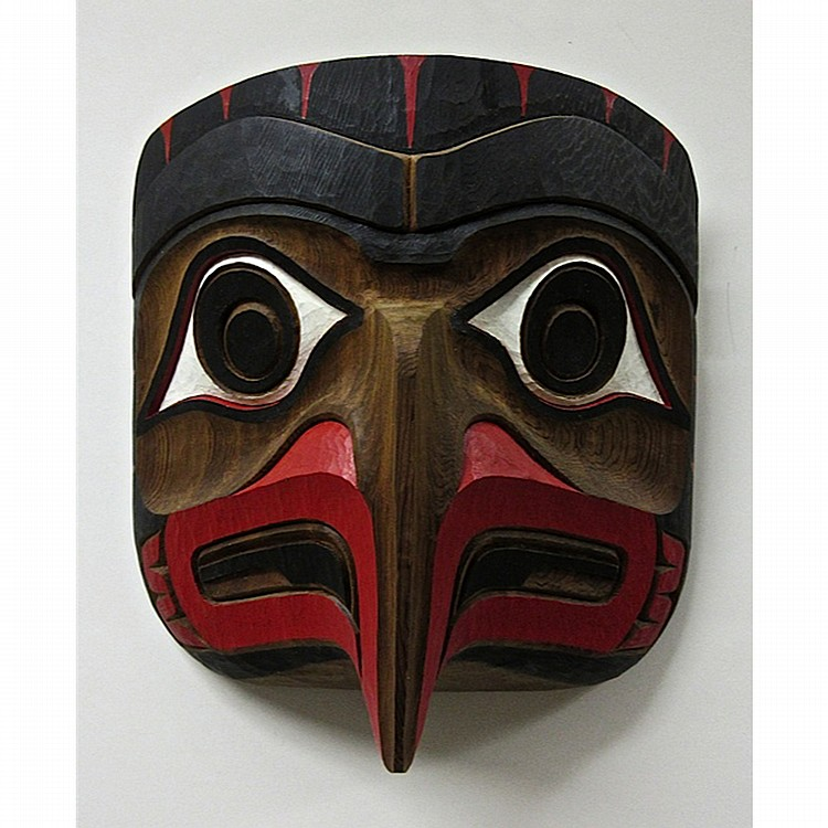 JIM CHARLIE (NORTHWEST COAST, 1967-), EAGLE, CEDAR CARVED AND PAINTED MASK; SIGNED AND TITLED VERSO, 10