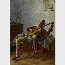 "Charles Xavier Harris (1856-?), TUNING THE GUITAR, 14"" x 10"" - 35.6 x 25.4 cm."