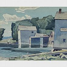 ALFRED JOSEPH CASSON, O.S.A., P.R.C.A., BOAT HOUSES - THE POOL AT BRACEBRIDGE, 1947, watercolour, 11 ins x 13.75 ins; 27.9 cms x 34.3 cms