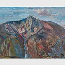 "FREDERICK HORSMAN VARLEY, A.R.C.A., ""FLOWER"" MOUNTAIN, oil on canvas board, 11.75 ins x 15 ins; 29.8 cms x 38.1 cms"