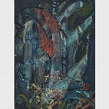 ARTHUR LISMER, O.S.A., R.C.A., DARK FOREST, B.C., '57, oil on panel, 16 ins x 12 ins; 40.6 cms x 30.5 cms