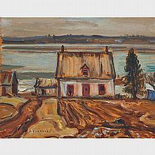 ALEXANDER YOUNG JACKSON, O.S.A., R.C.A., FARMHOUSE, GRENVILLE, QUE., 1965, oil on panel, 10.5 ins x 13.5 ins; 26.7 cms x 34.3 cms