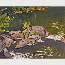 ALFRED JOSEPH CASSON, O.S.A., P.R.C.A., BELOW MARSHES FALLS, oil on board, 12 ins x 15 ins; 30.5 cms x 38.1 cms
