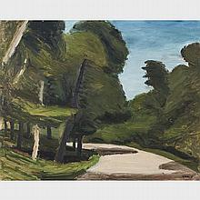 WILLIAM GOODRIDGE ROBERTS, R.C.A, THE CURVE IN THE ROAD, MONT ROYAL, CIRCA 1938, oil on masonite, 17 ins x 21 ins; 43.2 cms x 53.3 cms