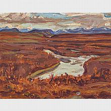 ALEXANDER YOUNG JACKSON, O.S.A., R.C.A., BLACKSTONE RIVER, YUKON, 1964, oil on panel, 10.5 ins x 13.5 ins; 26.7 cms x 34.3 cms