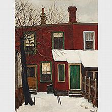 ALBERT JACQUES FRANCK, A.R.C.A., BEHIND AUGUSTA AVE., oil on masonite, 16 ins x 12 ins; 40.6 cms x 30.5 cms