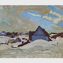 RANDOLPH STANLEY HEWTON, R.C.A., QUEBEC FARM IN WINTER, oil on canvas, 10 ins x 12 ins; 25.4 cms x 30.5 cms