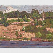 ALEXANDER YOUNG JACKSON, O.S.A., R.C.A., PENETANG BAY, 1913, oil on panel, 8.5 ins x 10.75 ins; 21.6 cms x 27.3 cms