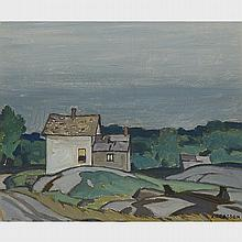 ALFRED JOSEPH CASSON, O.S.A., P.R.C.A., NORTHERN ONTARIO HOUSE, 1945, oil on board, 9.5 ins x 11.25 ins; 24.8 cms x 29.2 cms