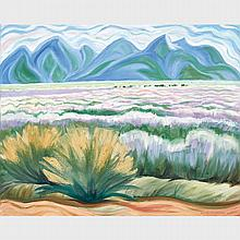 DORIS JEAN MCCARTHY, O.S.A., R.C.A., DESERT AT TAOS, 1998, oil on canvas, 24 ins x 30 ins; 61 cms x 76.2 cms
