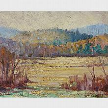 LIONEL LEMOINE FITZGERALD, LANDSCAPE WITH GOLDEN MEADOW, oil on board, 8 ins x 10 ins; 20.3 cms x 25.4 cms